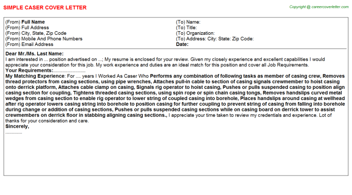Caser Cover Letter Template