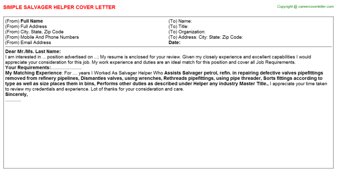 Salvager Helper Job Cover Letter Template