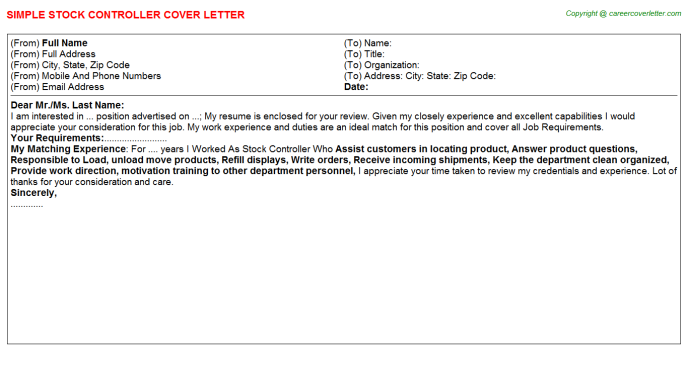 Stock Controller Cover Letter Template