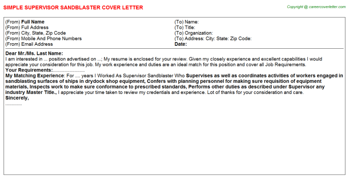 Supervisor Sandblaster Job Cover Letter Template