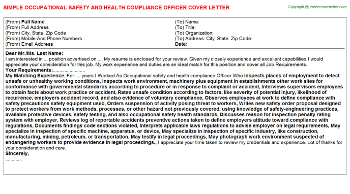 Occupational Safety And Health Compliance Officer Cover Letter