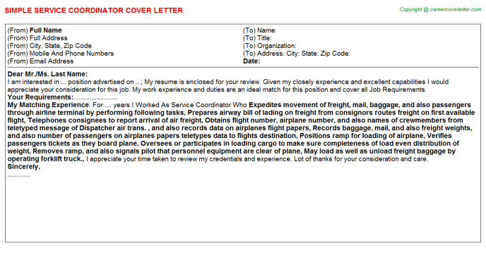 Service Coordinator Cover Letter Template