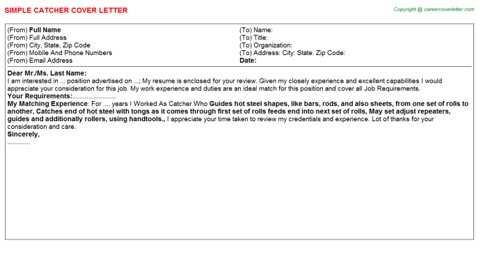 Catcher Cover Letter Template