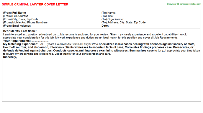 criminal lawyer cover letter template