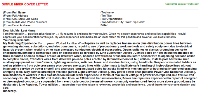Hiker Cover Letter Template