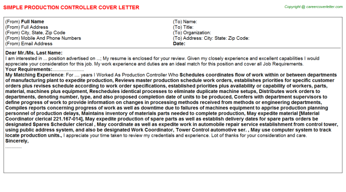 Production Controller Job Cover Letter