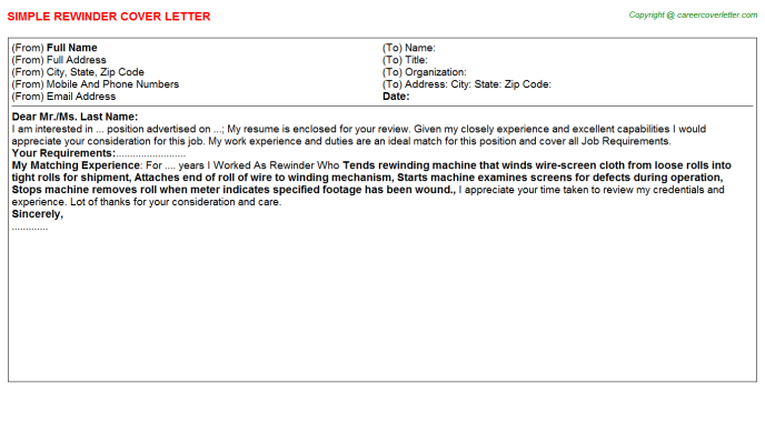 Rewinder Cover Letter Template