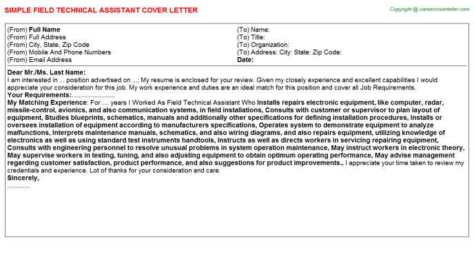 Field Technical Assistant Job Cover Letter Sample