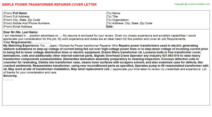 Power Transformer Repairer Cover Letter Template