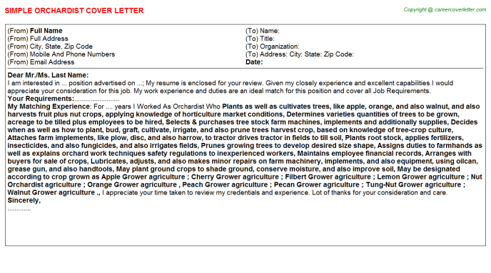 Orchardist Cover Letter Template