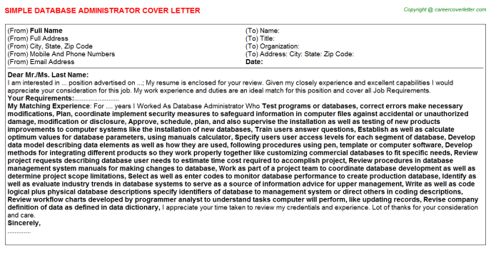 Database Administrator Cover Letter Template