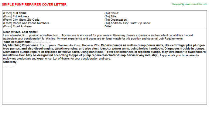 Pump Repairer Cover Letter Template