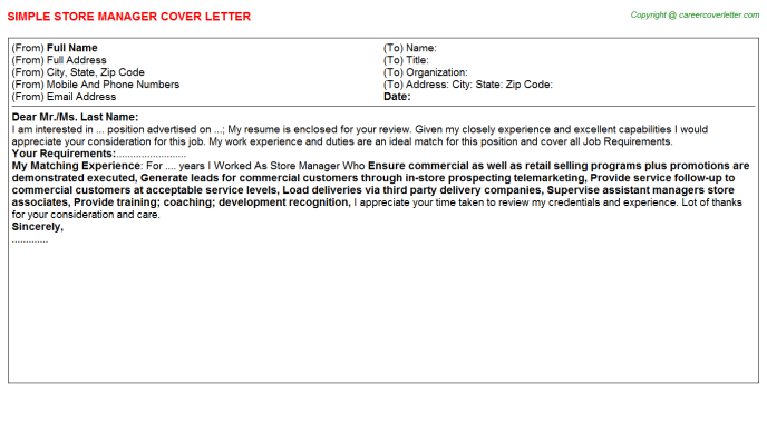 Store Manager Cover Letter Template