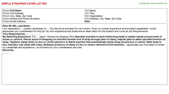 Strapper Job Cover Letter Template