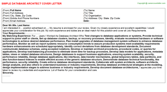 Database Architect Cover Letters | Job Cover Letters