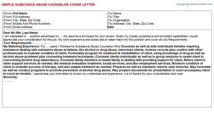 Substance Abuse Counselor Job Cover Letter