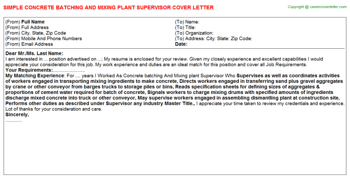 Concrete Batching And Mixing Plant Supervisor Job Cover Letter