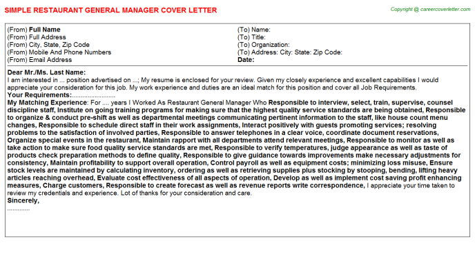 Restaurant General Manager Cover Letter Template