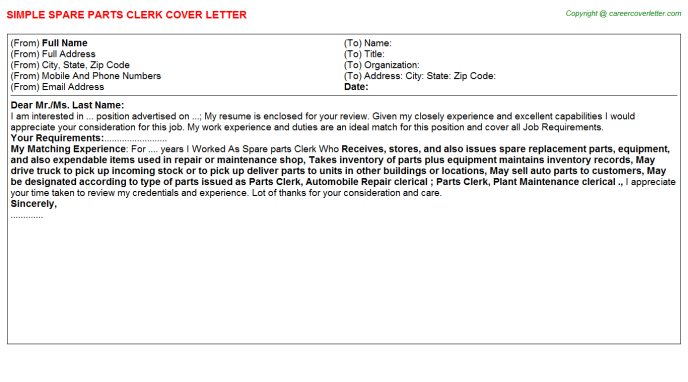 Spare Parts Clerk Cover Letters