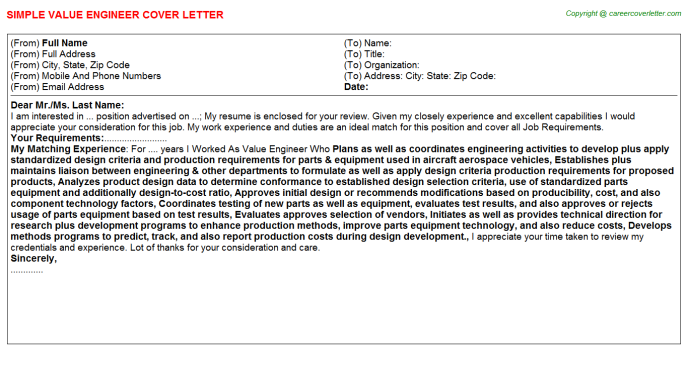 Value Engineer Job Cover Letter Template