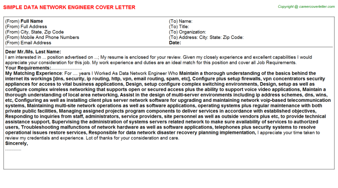 Data Network Engineer Cover Letter Template