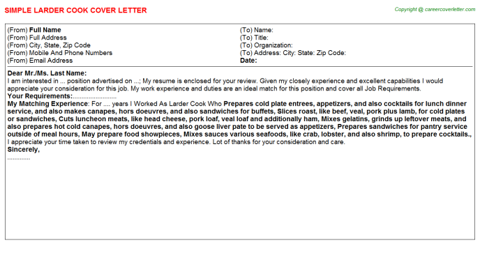 Larder Cook Cover Letter Template