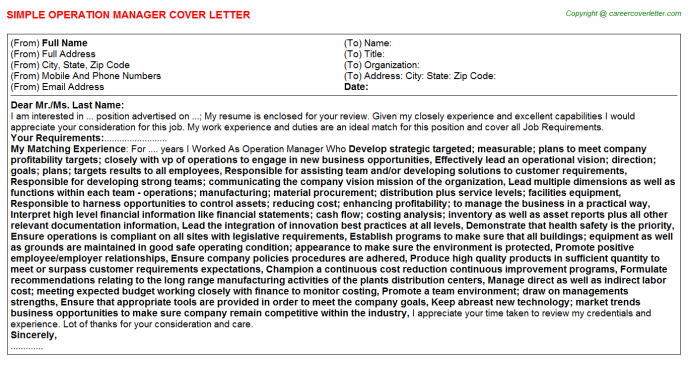 Operation Manager Cover Letter Template