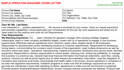 Operation Manager Job Cover Letter Template