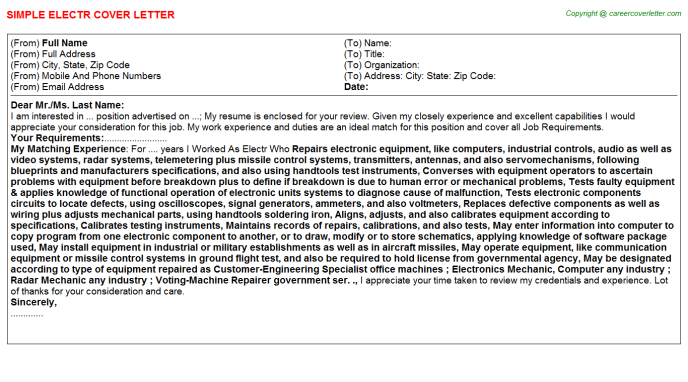 Electr Cover Letter Template