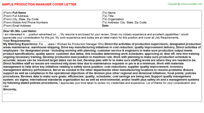 Production Manager Cover Letter Template