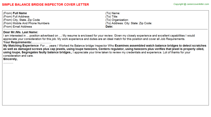 Balance Bridge Inspector Job Cover Letter
