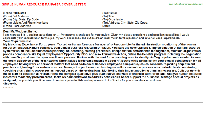 Human Resource Manager Cover Letter Template