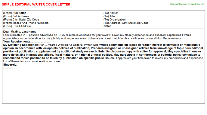 editorial writer cover letter template