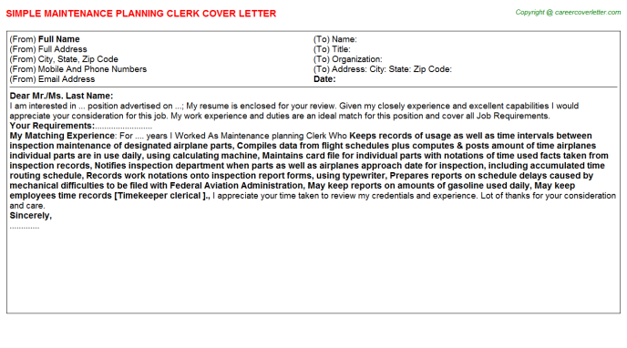maintenance planning clerk cover letter template