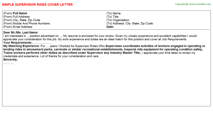 Supervisor Rides Job Cover Letter Template