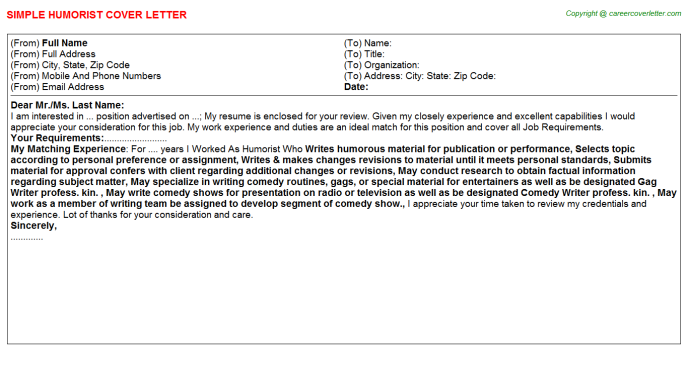 Humorist Job Cover Letter Template