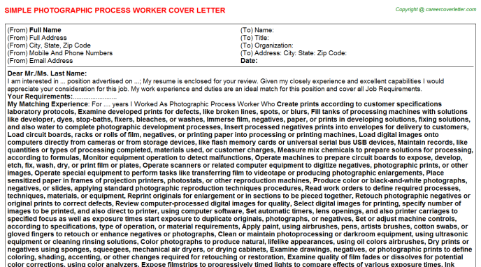 Photographic Process Worker Job Cover Letter