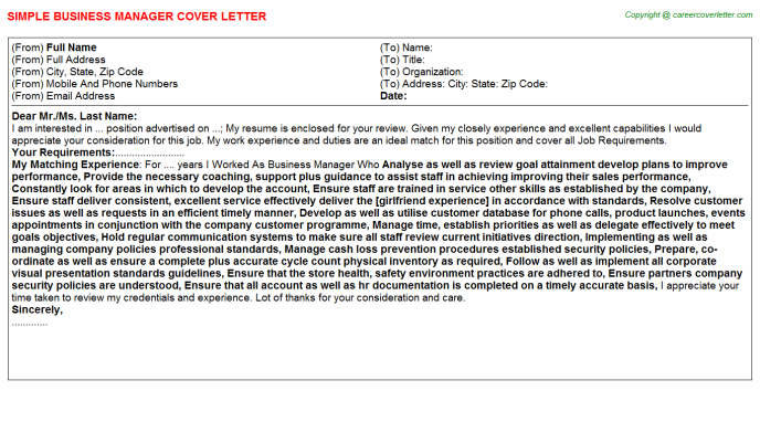 Business Manager Cover Letter Template