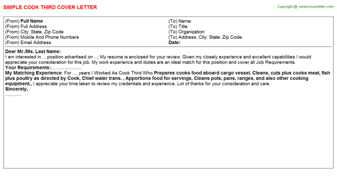 Cook Third Job Cover Letter Template