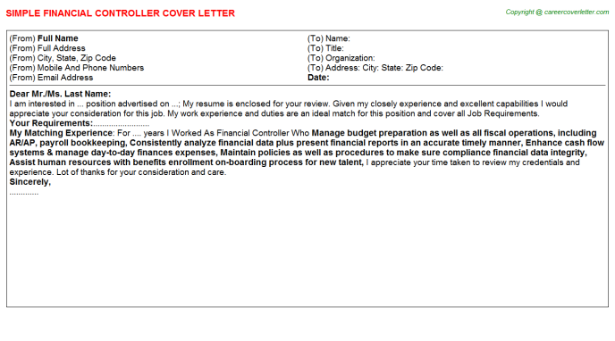 Financial Controller Job Cover Letter