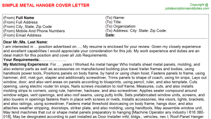 Metal Hanger Job Cover Letter Template