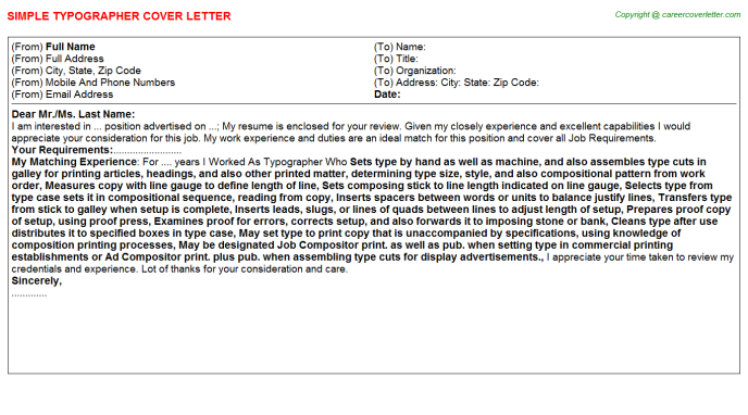 Typographer Job Cover Letter Template