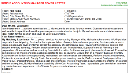 Accounting Manager Job Cover Letter Template