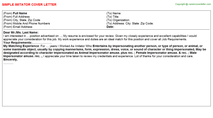 Imitator Cover Letter Template