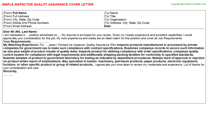 Inspector Quality Assurance Job Cover Letter