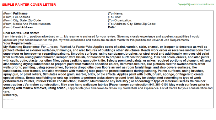 Painter Job Cover Letter Template