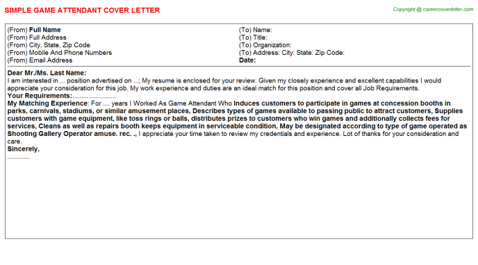 Game Attendant Cover Letter Template