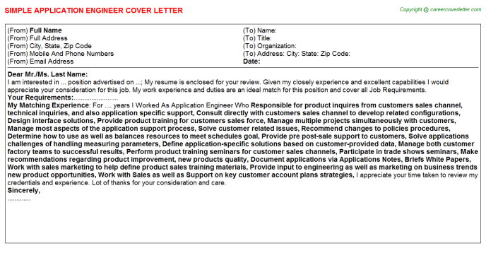 Application Engineer Job Cover Letter Template