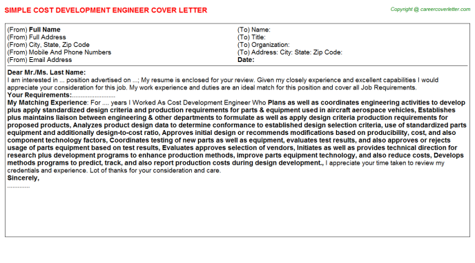 Cost Development Engineer Job Cover Letter Template