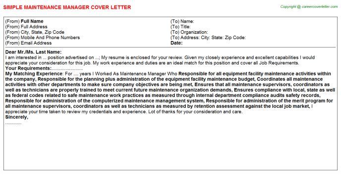 Maintenance Manager Cover Letter Template